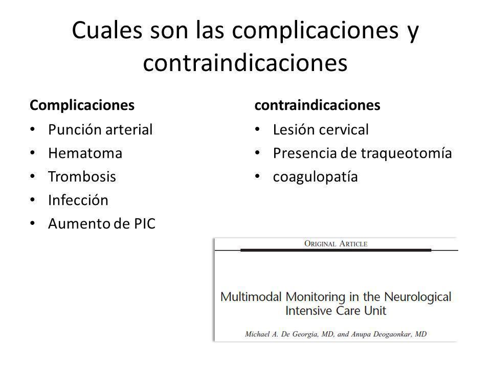 Cuales son las complicaciones y contraindicaciones Complicaciones Punción arterial Hematoma Trombosis Infección Aumento de PIC contraindicaciones Lesi