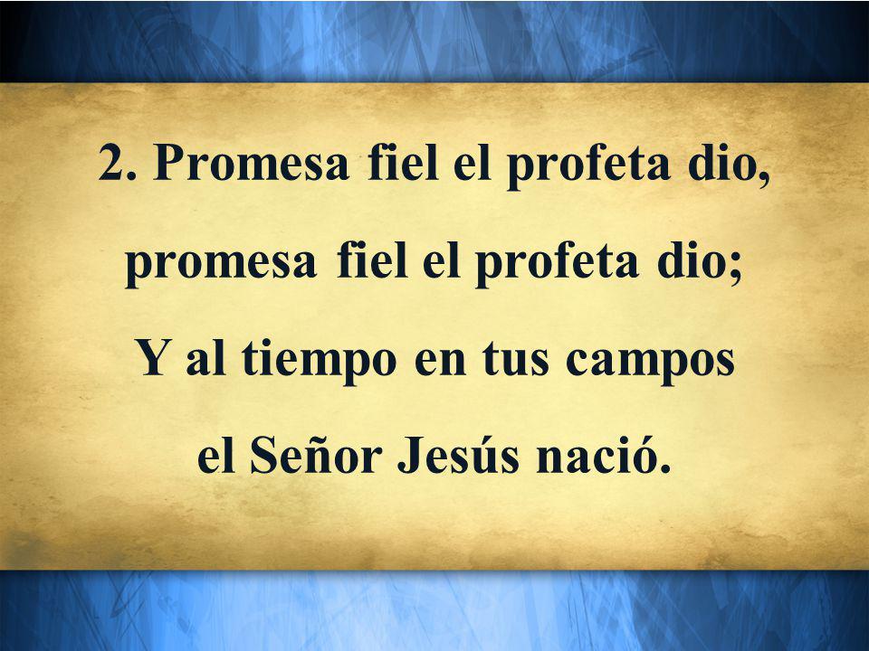 2. Promesa fiel el profeta dio, promesa fiel el profeta dio; Y al tiempo en tus campos el Señor Jesús nació.