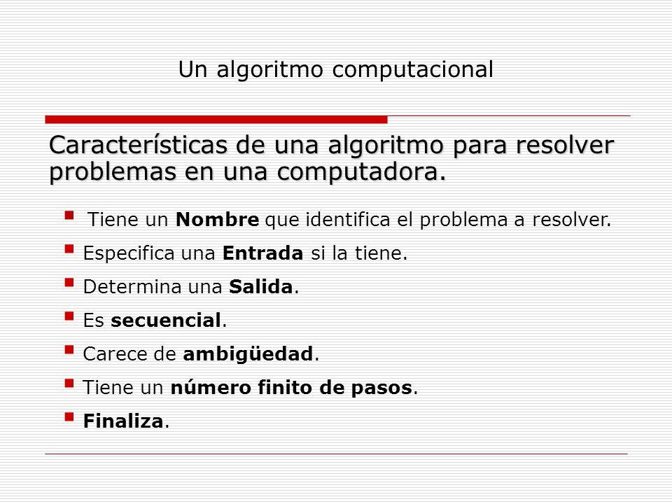 Un algoritmo computacional Características de una algoritmo para resolver problemas en una computadora. Tiene un Nombre que identifica el problema a r