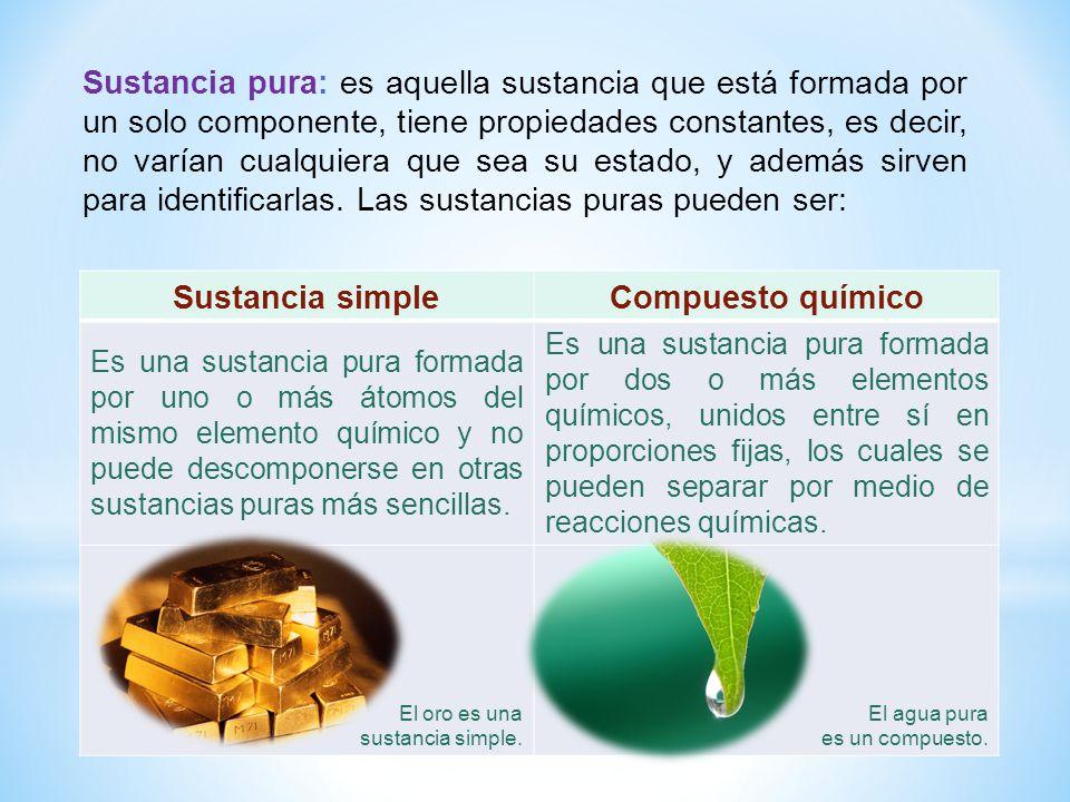 Sustancia simpleCompuesto químico Es una sustancia pura formada por uno o más átomos del mismo elemento químico y no puede descomponerse en otras sust