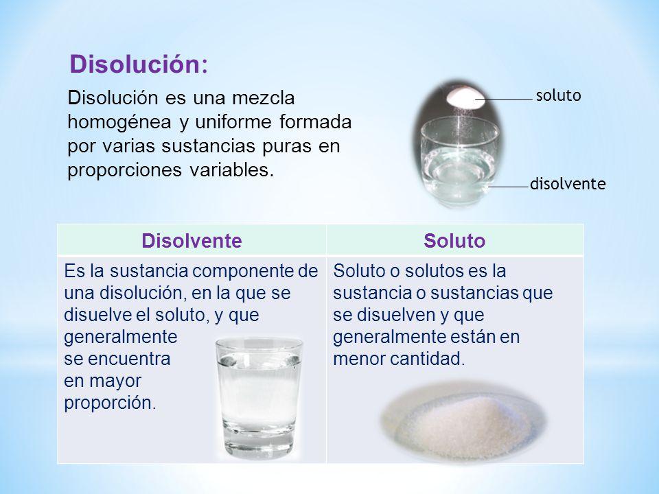 DisolventeSoluto Es la sustancia componente de una disolución, en la que se disuelve el soluto, y que generalmente se encuentra en mayor proporción. S