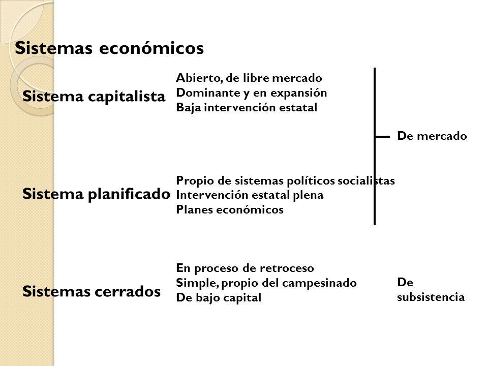 Sistemas económicos Sistema capitalista Sistema planificado Sistemas cerrados Abierto, de libre mercado Dominante y en expansión Baja intervención est
