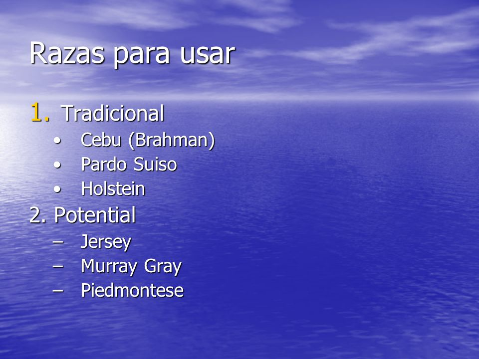 Razas para usar 1. Tradicional Cebu (Brahman)Cebu (Brahman) Pardo SuisoPardo Suiso HolsteinHolstein 2. Potential –Jersey –Murray Gray –Piedmontese