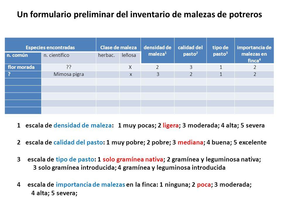 Especies encontradas Clase de maleza densidad de maleza 1 calidad del pasto 2 tipo de pasto 3 importancia de malezas en finca 4 n. comúnn. científicoh