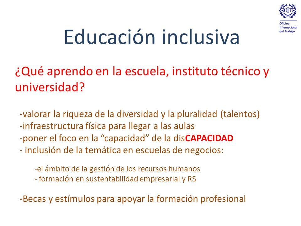 Educación inclusiva -valorar la riqueza de la diversidad y la pluralidad (talentos) -infraestructura física para llegar a las aulas -poner el foco en