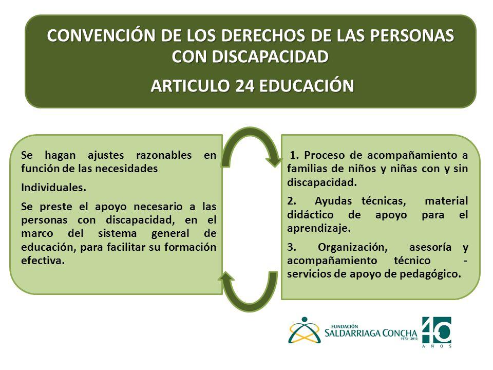 CONVENCIÓN DE LOS DERECHOS DE LAS PERSONAS CON DISCAPACIDAD ARTICULO 24 EDUCACIÓN ARTICULO 24 EDUCACIÓN Se hagan ajustes razonables en función de las necesidades Individuales.