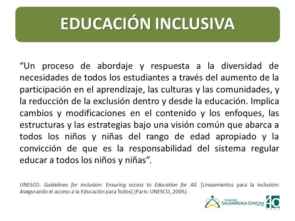 Un proceso de abordaje y respuesta a la diversidad de necesidades de todos los estudiantes a través del aumento de la participación en el aprendizaje, las culturas y las comunidades, y la reducción de la exclusión dentro y desde la educación.