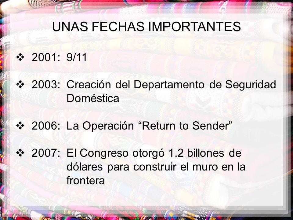 UNAS FECHAS IMPORTANTES 2001: 9/11 2003: Creación del Departamento de Seguridad Doméstica 2006: La Operación Return to Sender 2007: El Congreso otorgó