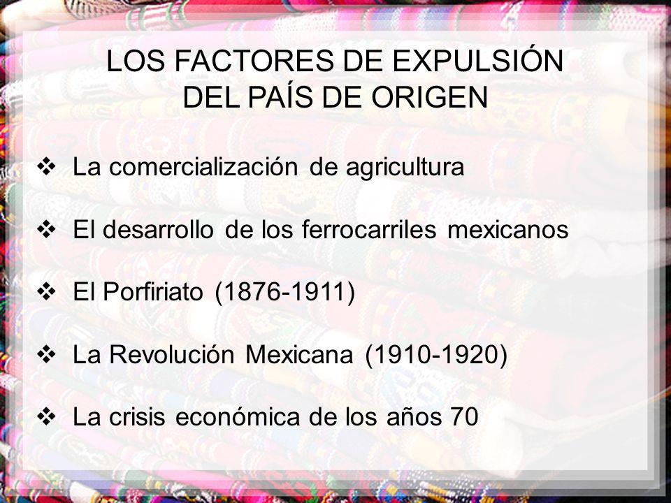 LOS FACTORES DE EXPULSIÓN DEL PAÍS DE ORIGEN La comercialización de agricultura El desarrollo de los ferrocarriles mexicanos El Porfiriato (1876-1911)
