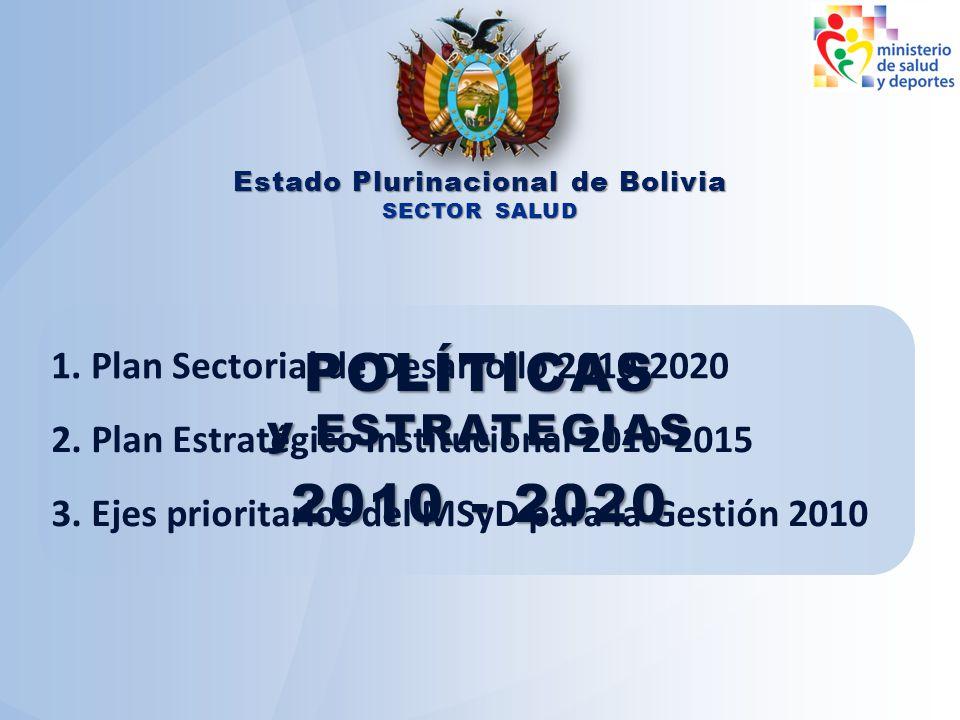 POLÍTICAS y ESTRATEGIAS 2010 - 2020 Estado Plurinacional de Bolivia SECTOR SALUD 1. Plan Sectorial de Desarrollo 2010-2020 2. Plan Estratégico Institu