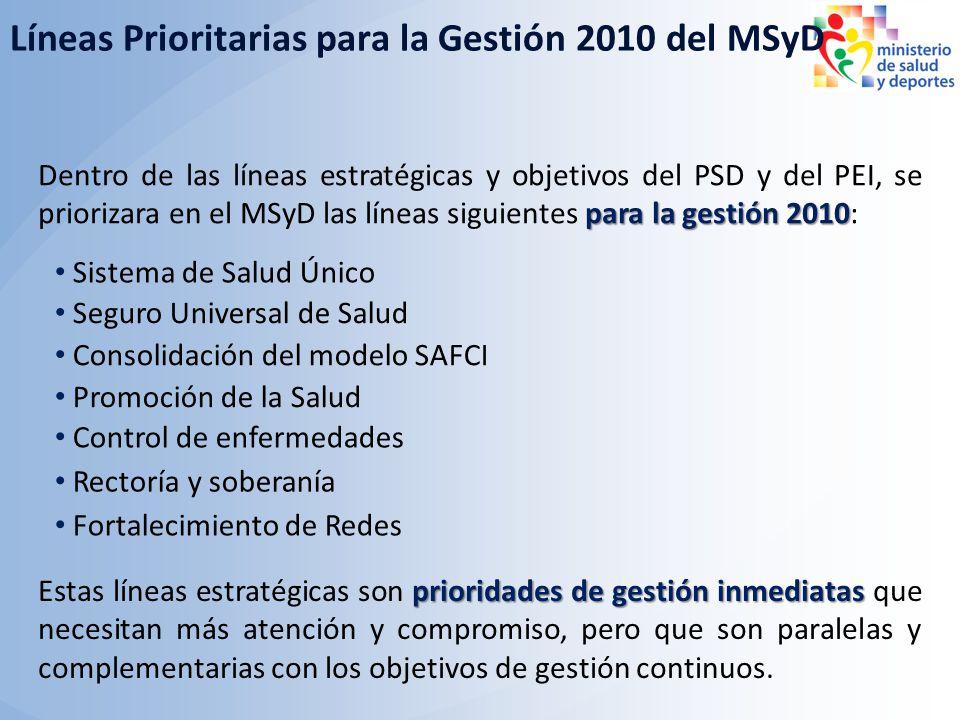 Sistema de Salud Único para la gestión 2010 Dentro de las líneas estratégicas y objetivos del PSD y del PEI, se priorizara en el MSyD las líneas sigui