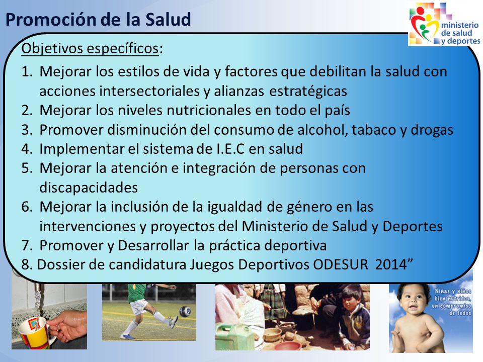 Objetivos: Fortalecer los proyectos y acciones intersectoriales para influir en las determinantes de la salud Promoción de la Salud Objetivos específi