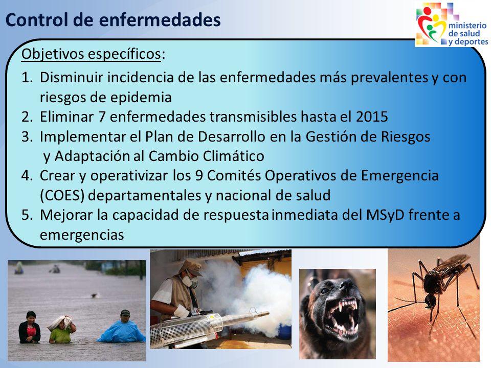 Objetivos 2010: Disminuir daños a la salud por enfermedades transmisibles, no transmisibles y desastres / emergencias Control de enfermedades Objetivo