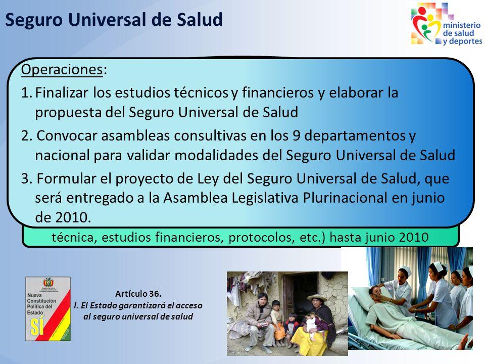 Objetivos 2010: Establecer las modalidades de implementación del SUS, aprobar la ley y reglamento, e iniciar el Seguro Universal público según estrate
