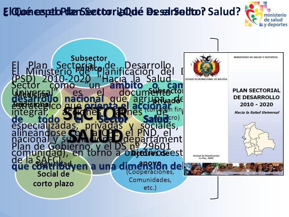Subsector público Subsector privado (con o sin fines de lucro) Medicina Tradicional Seguridad Social de corto plazo Actores de apoyo (Cooperaciones, C