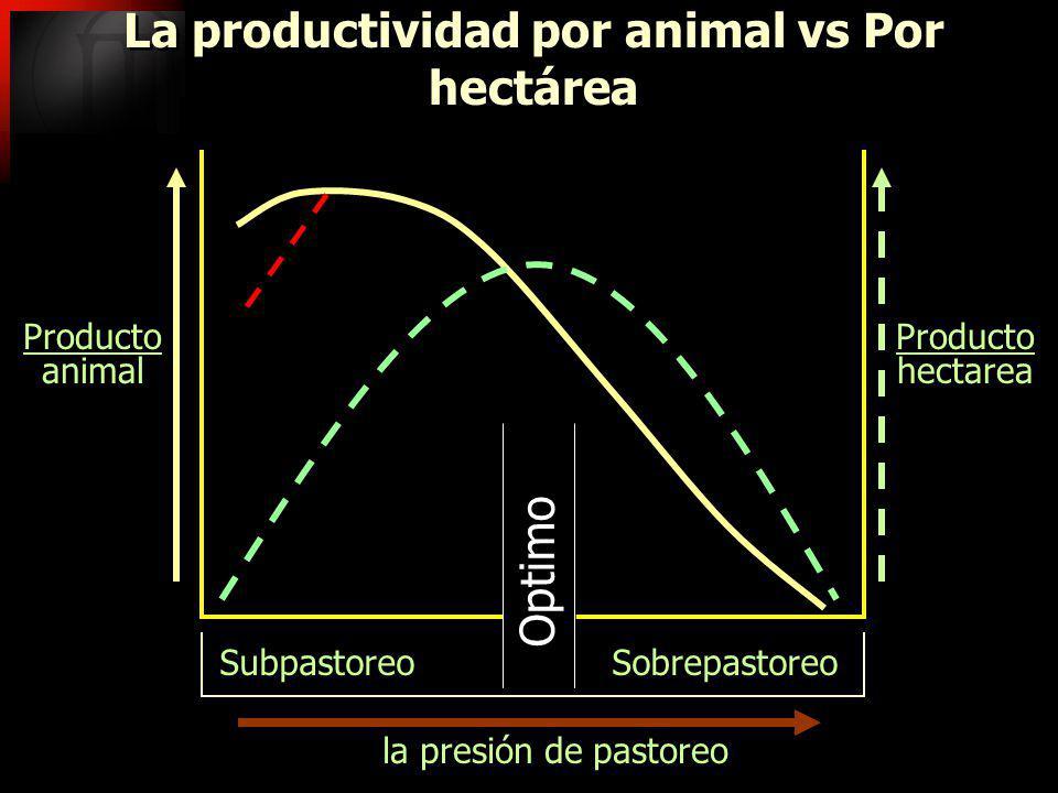 la presión de pastoreo Subpastoreo Sobrepastoreo La productividad por animal vs Por hectárea Producto animal Producto animal Producto hectarea Product