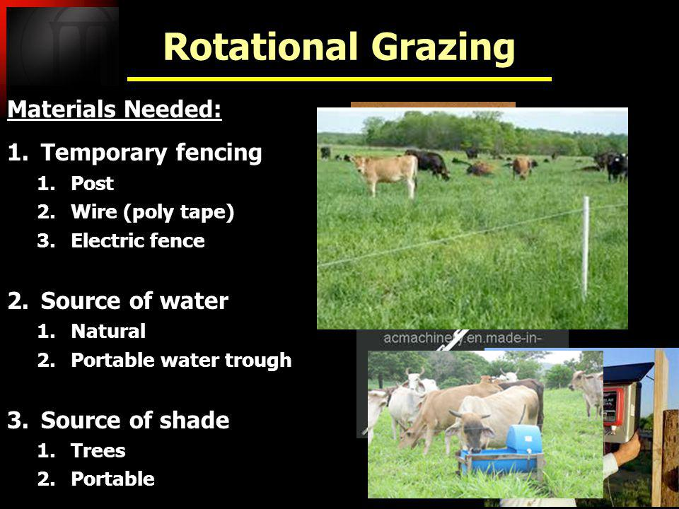 Materials Needed: 1.Temporary fencing 1.Post 2.Wire (poly tape) 3.Electric fence 2.Source of water 1.Natural 2.Portable water trough 3.Source of shade 1.Trees 2.Portable Materials Needed: 1.Temporary fencing 1.Post 2.Wire (poly tape) 3.Electric fence 2.Source of water 1.Natural 2.Portable water trough 3.Source of shade 1.Trees 2.Portable Rotational Grazing