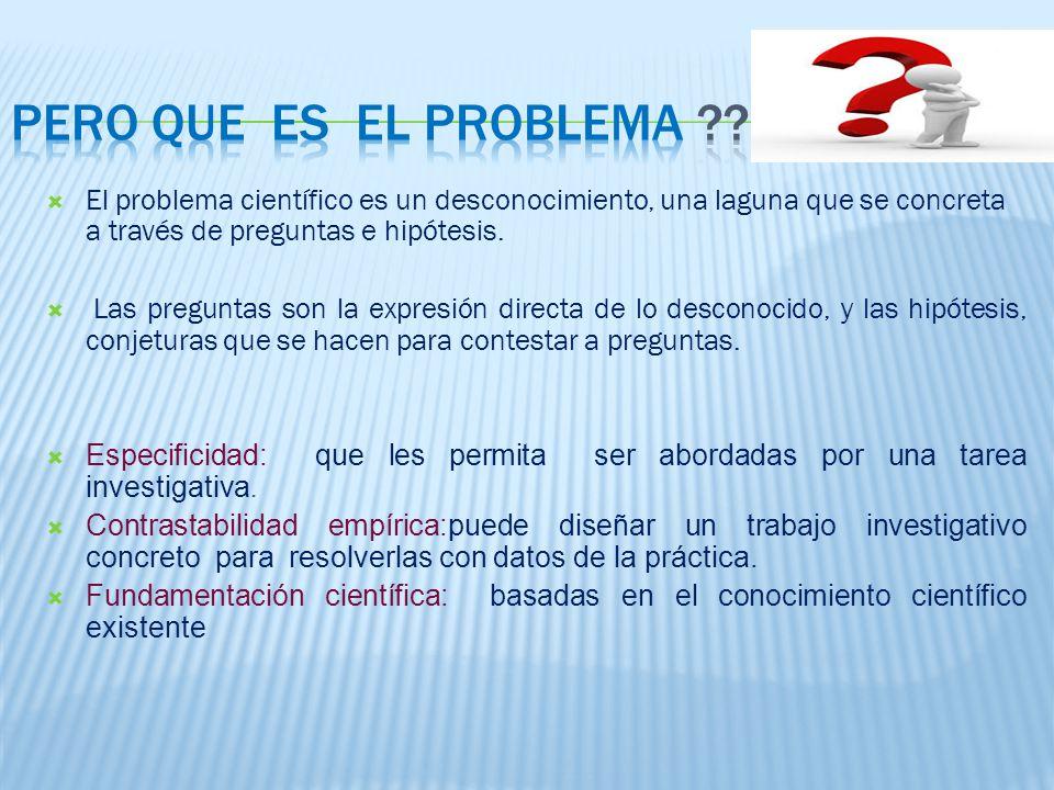 El problema científico es un desconocimiento, una laguna que se concreta a través de preguntas e hipótesis.