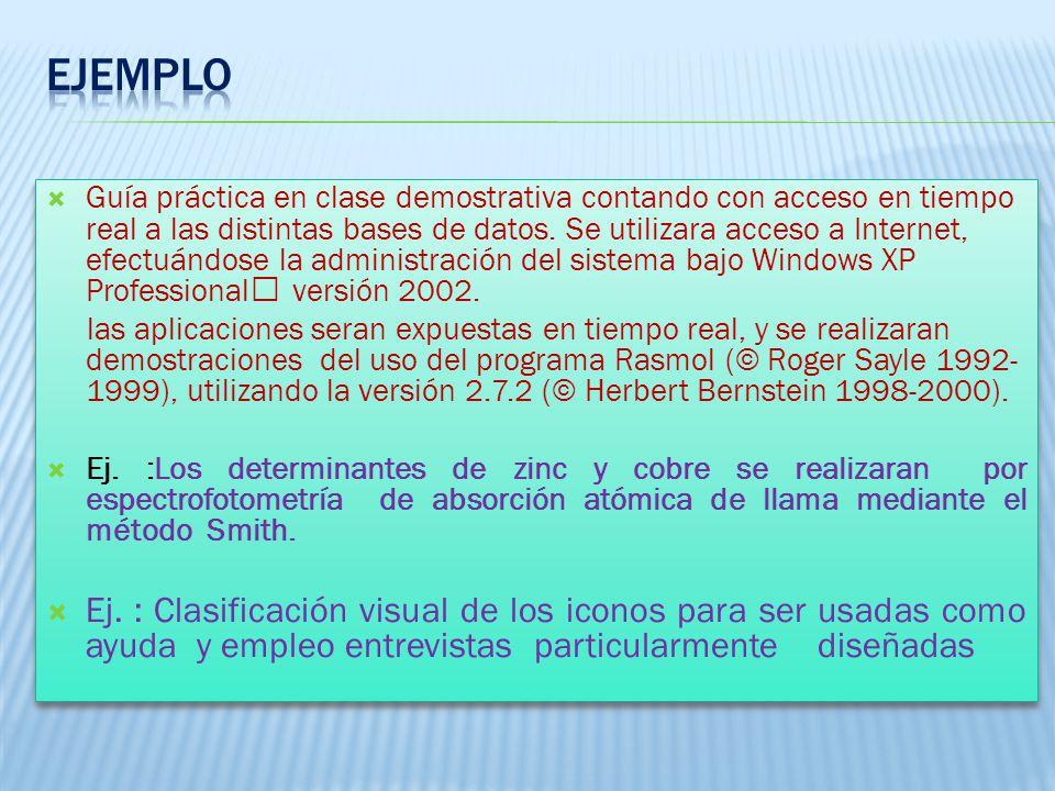 Guía práctica en clase demostrativa contando con acceso en tiempo real a las distintas bases de datos.