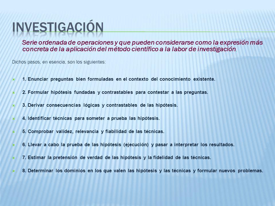 Serie ordenada de operaciones y que pueden considerarse como la expresión más concreta de la aplicación del método científico a la labor de investigación.