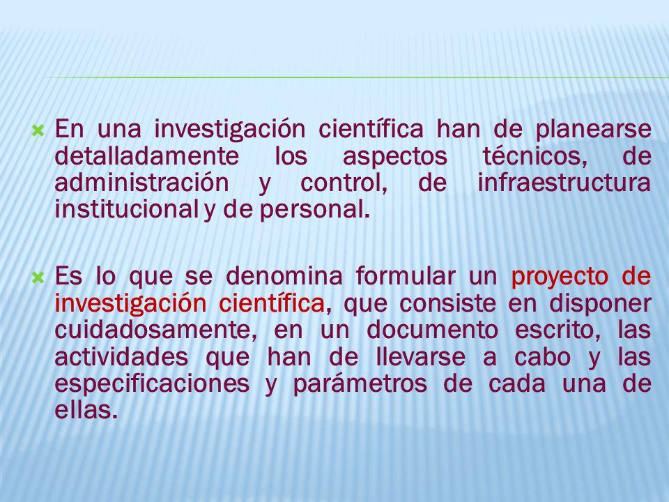 En una investigación científica han de planearse detalladamente los aspectos técnicos, de administración y control, de infraestructura institucional y de personal.