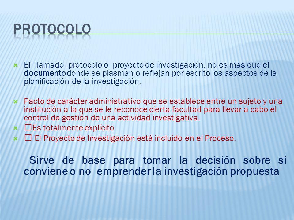 El llamado protocolo o proyecto de investigación, no es mas que el documento donde se plasman o reflejan por escrito los aspectos de la planificación de la investigación.