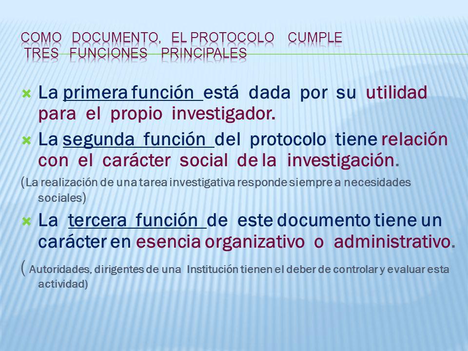 La primera función está dada por su utilidad para el propio investigador.