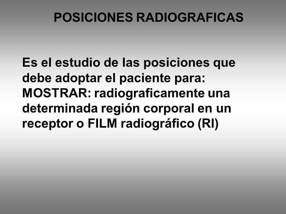 Es el estudio de las posiciones que debe adoptar el paciente para: MOSTRAR: radiograficamente una determinada región corporal en un receptor o FILM ra