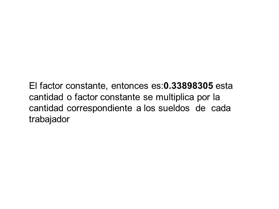 El factor constante, entonces es:0.33898305 esta cantidad o factor constante se multiplica por la cantidad correspondiente a los sueldos de cada traba