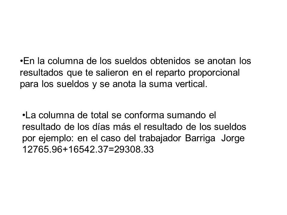 La columna de total se conforma sumando el resultado de los días más el resultado de los sueldos por ejemplo: en el caso del trabajador Barriga Jorge