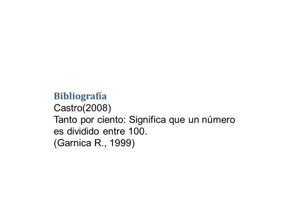 Bibliografía Castro(2008) Tanto por ciento: Significa que un número es dividido entre 100. (Garnica R., 1999)
