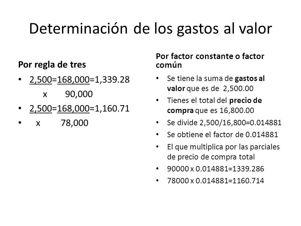 Determinación de los gastos al valor Por regla de tres 2,500=168,000=1,339.28 x 90,000 2,500=168,000=1,160.71 x 78,000 Por factor constante o factor c