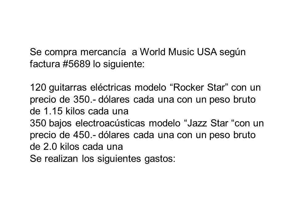 Se compra mercancía a World Music USA según factura #5689 lo siguiente: 120 guitarras eléctricas modelo Rocker Star con un precio de 350.- dólares cad