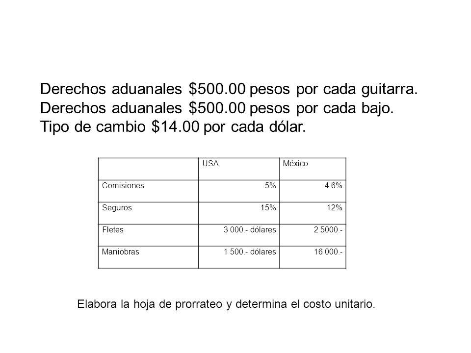 Derechos aduanales $500.00 pesos por cada guitarra. Derechos aduanales $500.00 pesos por cada bajo. Tipo de cambio $14.00 por cada dólar. USAMéxico Co