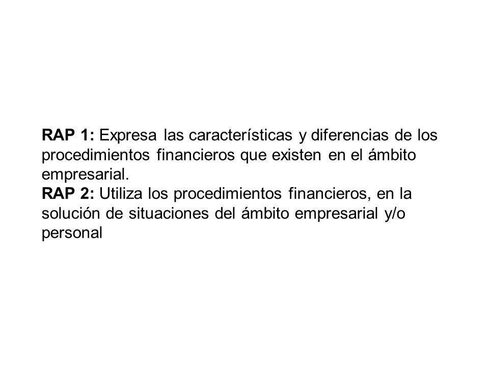 RAP 1: Expresa las características y diferencias de los procedimientos financieros que existen en el ámbito empresarial. RAP 2: Utiliza los procedimie