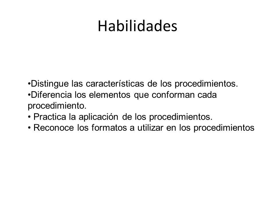 Habilidades Distingue las características de los procedimientos. Diferencia los elementos que conforman cada procedimiento. Practica la aplicación de