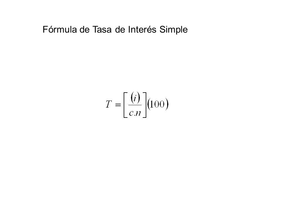 Fórmula de Tasa de Interés Simple