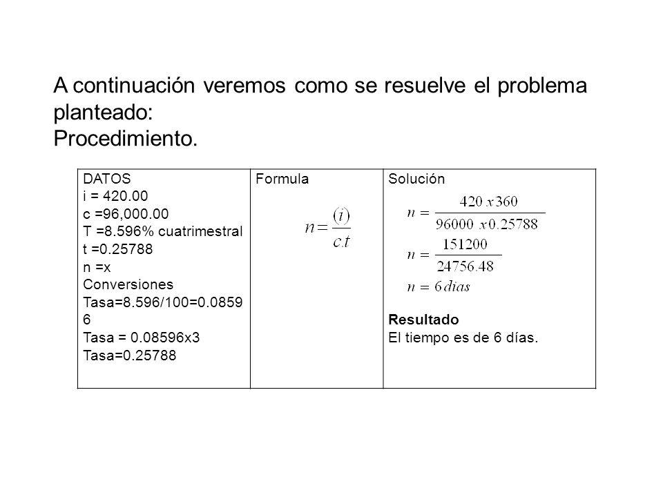A continuación veremos como se resuelve el problema planteado: Procedimiento. DATOS i = 420.00 c =96,000.00 T =8.596% cuatrimestral t =0.25788 n =x Co