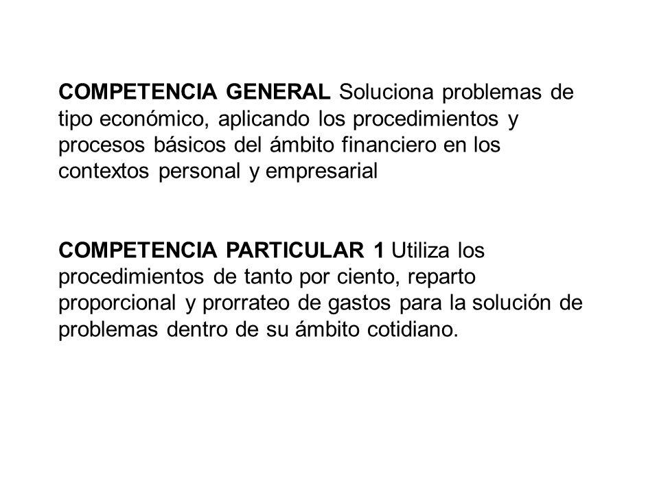 COMPETENCIA GENERAL Soluciona problemas de tipo económico, aplicando los procedimientos y procesos básicos del ámbito financiero en los contextos pers