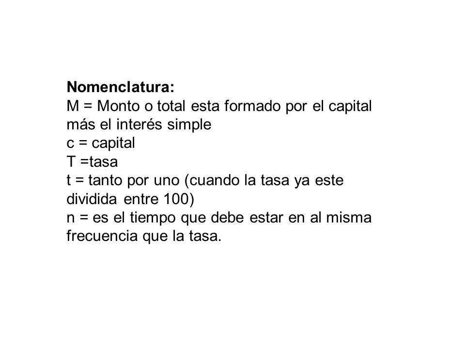 Nomenclatura: M = Monto o total esta formado por el capital más el interés simple c = capital T =tasa t = tanto por uno (cuando la tasa ya este dividi