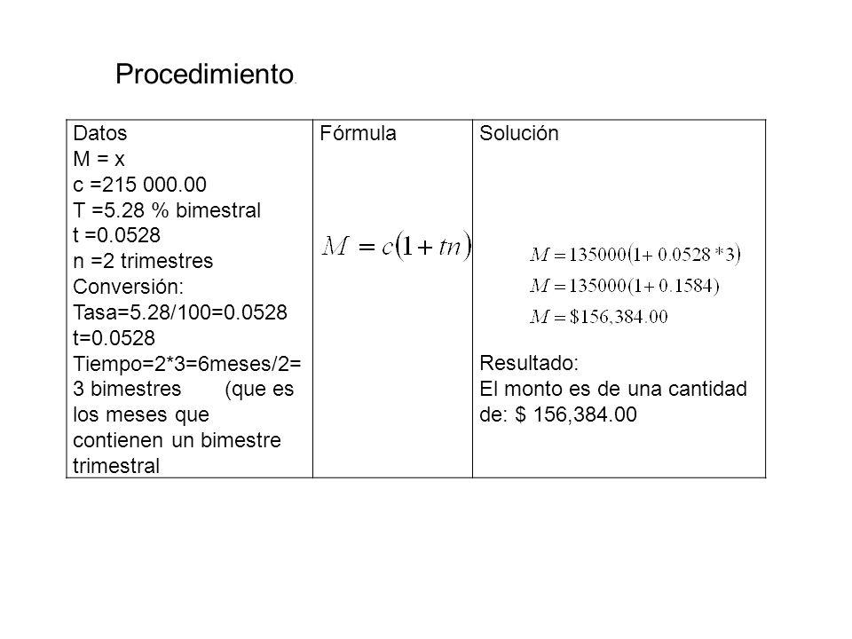 Datos M = x c =215 000.00 T =5.28 % bimestral t =0.0528 n =2 trimestres Conversión: Tasa=5.28/100=0.0528 t=0.0528 Tiempo=2*3=6meses/2= 3 bimestres (qu