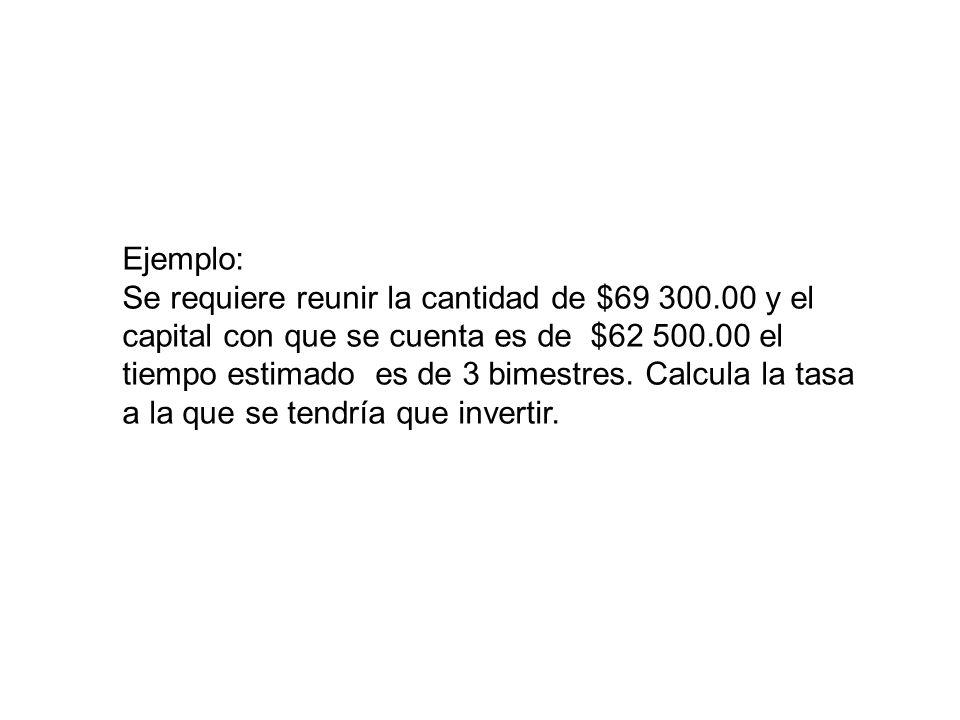 Ejemplo: Se requiere reunir la cantidad de $69 300.00 y el capital con que se cuenta es de $62 500.00 el tiempo estimado es de 3 bimestres. Calcula la