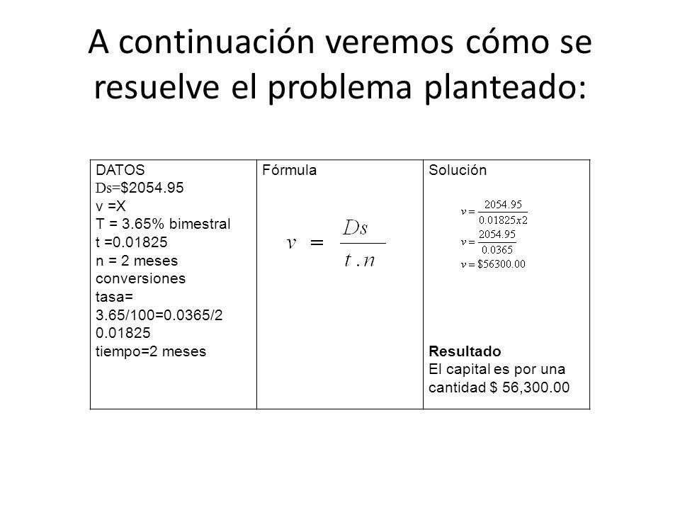 A continuación veremos cómo se resuelve el problema planteado: DATOS Ds= $2054.95 v =X T = 3.65% bimestral t =0.01825 n = 2 meses conversiones tasa= 3