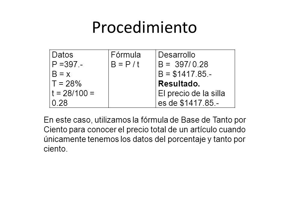Procedimiento Datos P =397.- B = x T = 28% t = 28/100 = 0.28 Fórmula B = P / t Desarrollo B = 397/ 0.28 B = $1417.85.- Resultado. El precio de la sill