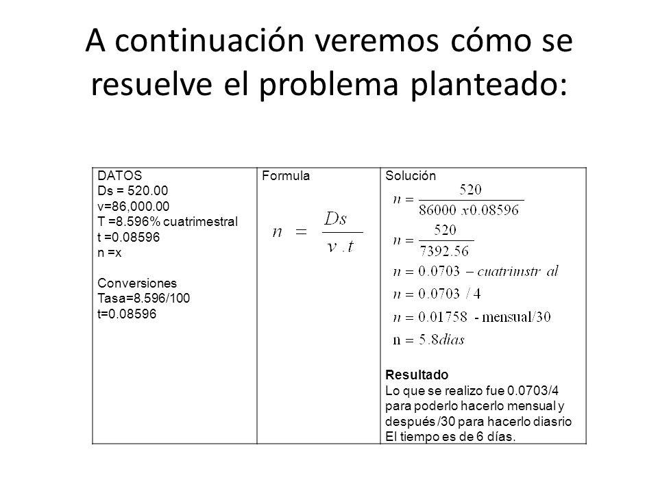 DATOS Ds = 520.00 v=86,000.00 T =8.596% cuatrimestral t =0.08596 n =x Conversiones Tasa=8.596/100 t=0.08596 FormulaSolución Resultado Lo que se realiz