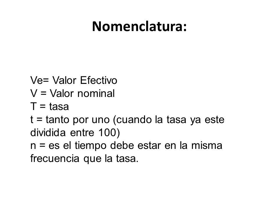 Nomenclatura: Ve= Valor Efectivo V = Valor nominal T = tasa t = tanto por uno (cuando la tasa ya este dividida entre 100) n = es el tiempo debe estar