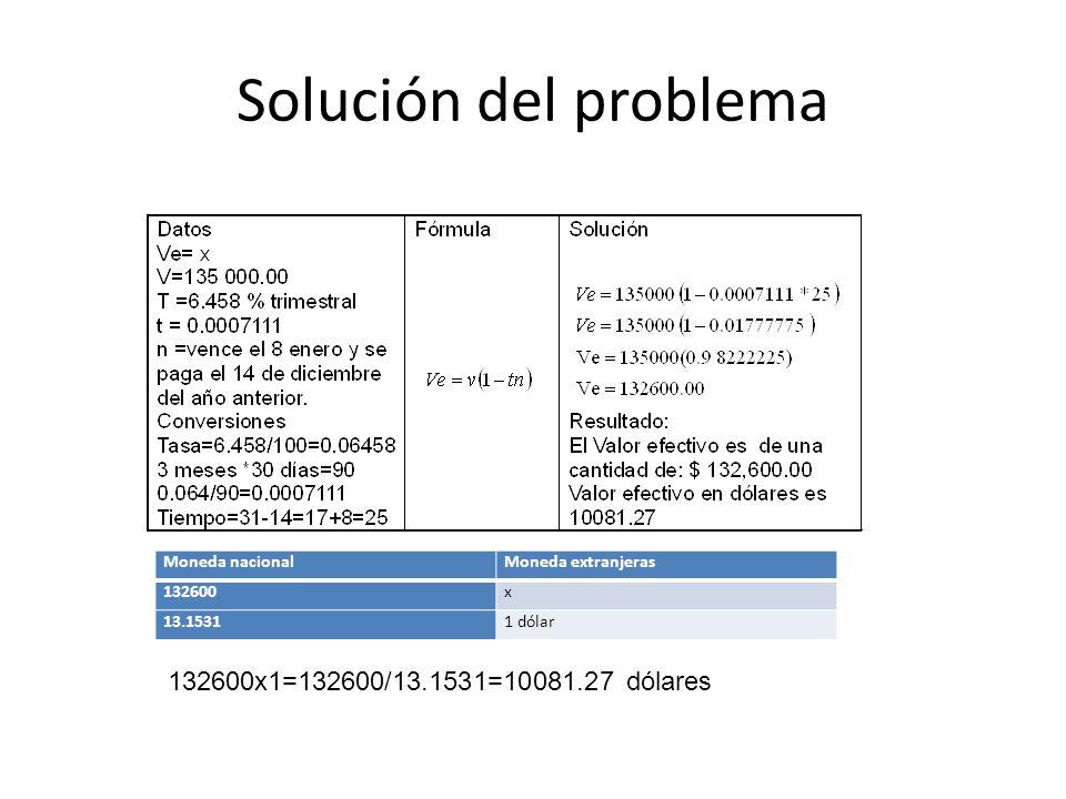 Solución del problema Moneda nacionalMoneda extranjeras 132600x 13.15311 dólar 132600x1=132600/13.1531=10081.27 dólares