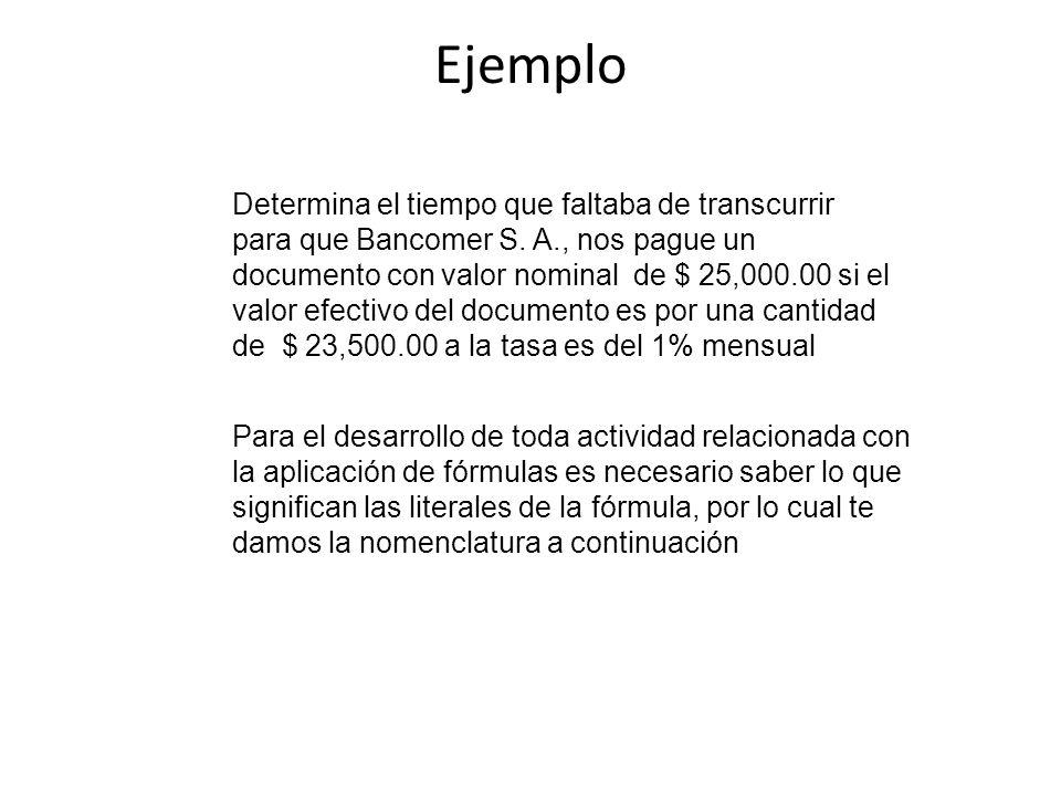 Ejemplo Determina el tiempo que faltaba de transcurrir para que Bancomer S. A., nos pague un documento con valor nominal de $ 25,000.00 si el valor ef