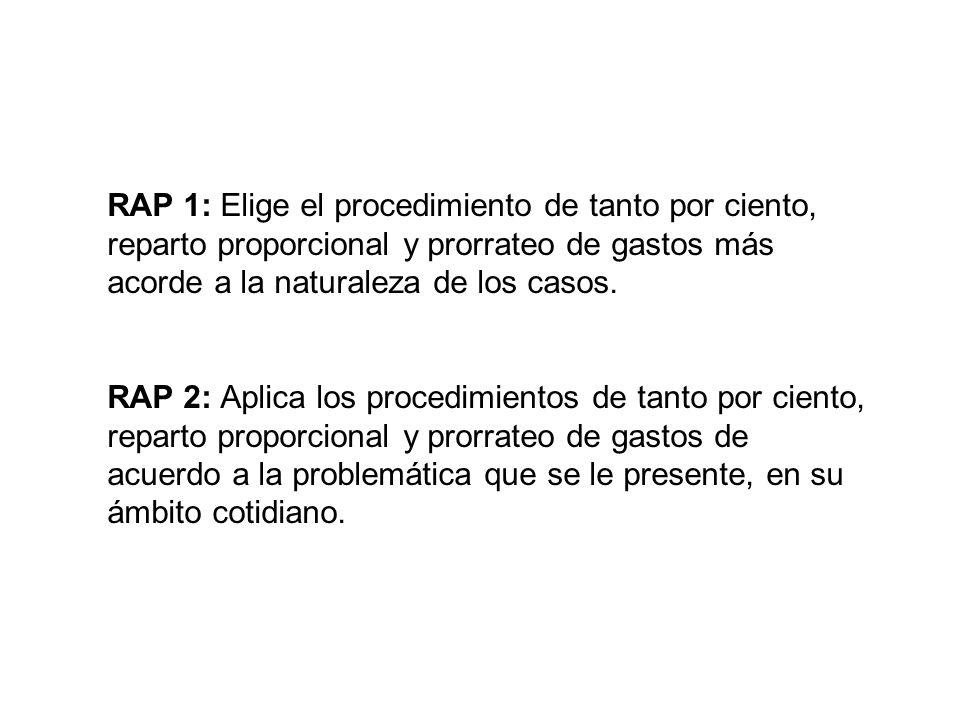 RAP 1: Elige el procedimiento de tanto por ciento, reparto proporcional y prorrateo de gastos más acorde a la naturaleza de los casos. RAP 2: Aplica l