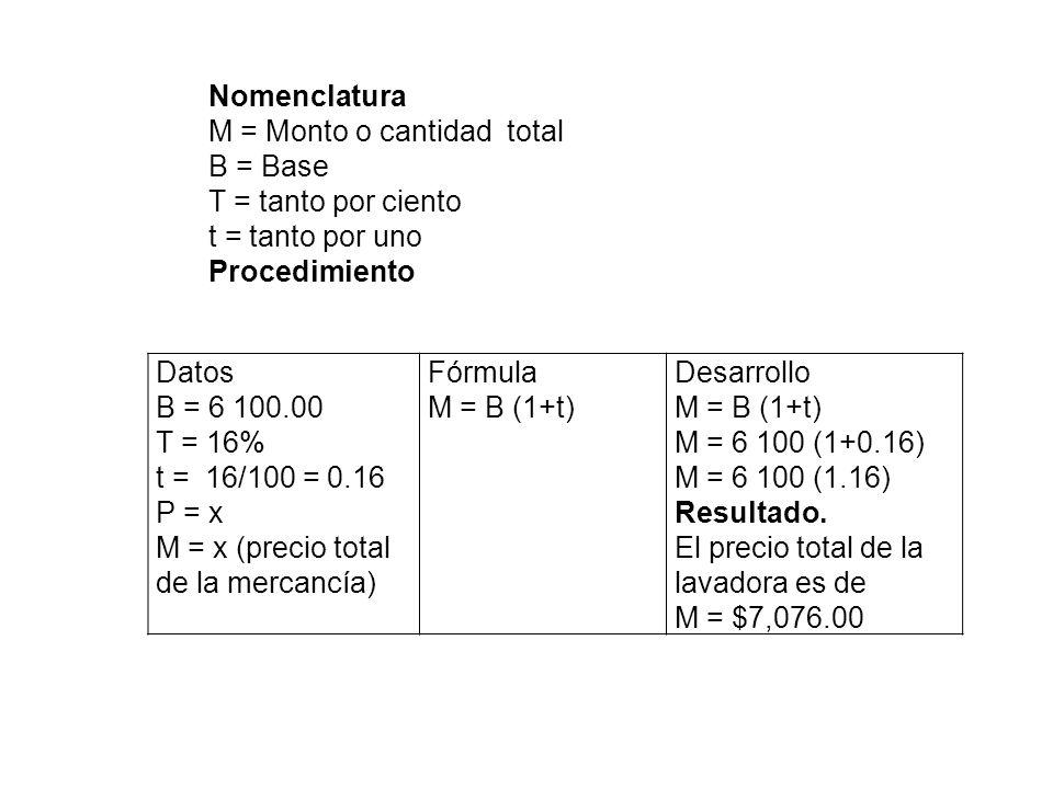 Datos B = 6 100.00 T = 16% t = 16/100 = 0.16 P = x M = x (precio total de la mercancía) Fórmula M = B (1+t) Desarrollo M = B (1+t) M = 6 100 (1+0.16)